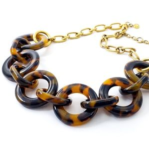 J. Crew Statement Necklace Faux Tortoise Shell